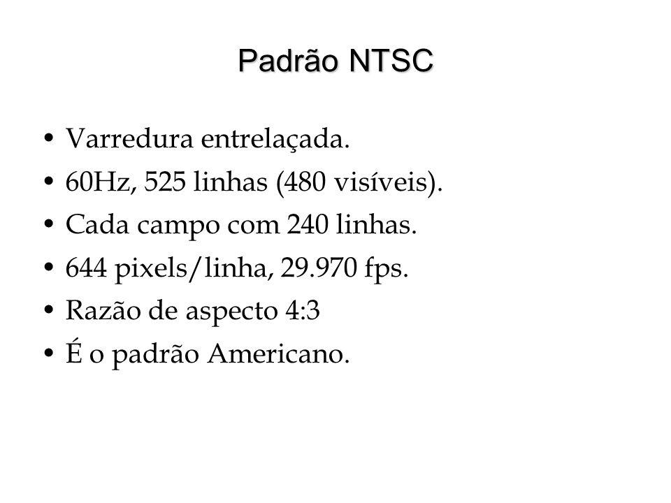 Padrão NTSC Varredura entrelaçada. 60Hz, 525 linhas (480 visíveis).