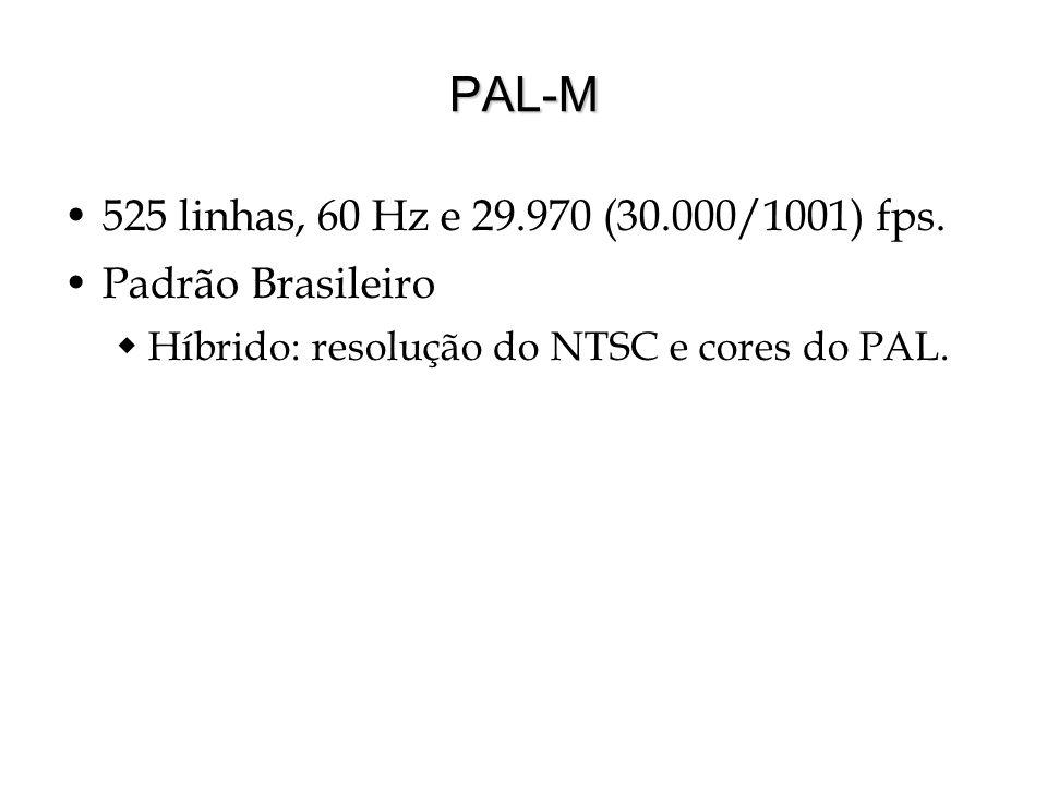 PAL-M 525 linhas, 60 Hz e 29.970 (30.000/1001) fps. Padrão Brasileiro