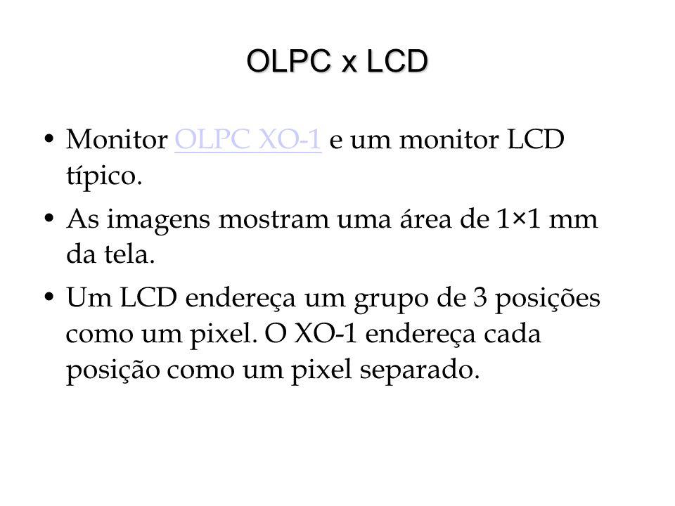 OLPC x LCD Monitor OLPC XO-1 e um monitor LCD típico.