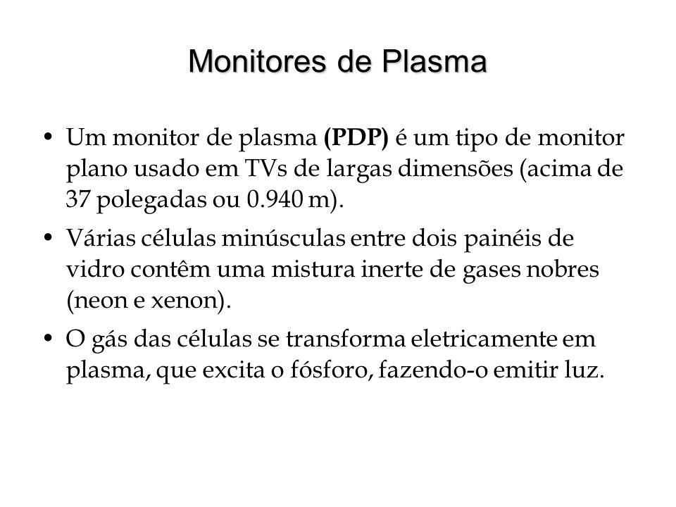 Monitores de Plasma Um monitor de plasma (PDP) é um tipo de monitor plano usado em TVs de largas dimensões (acima de 37 polegadas ou 0.940 m).
