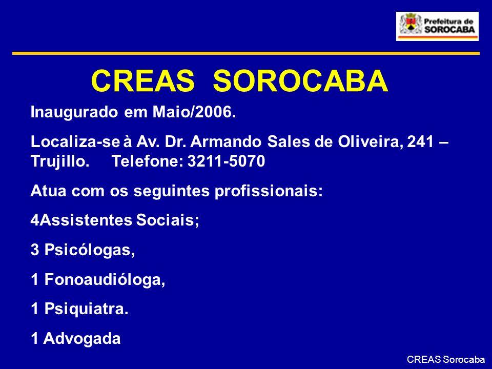 CREAS SOROCABA Inaugurado em Maio/2006.