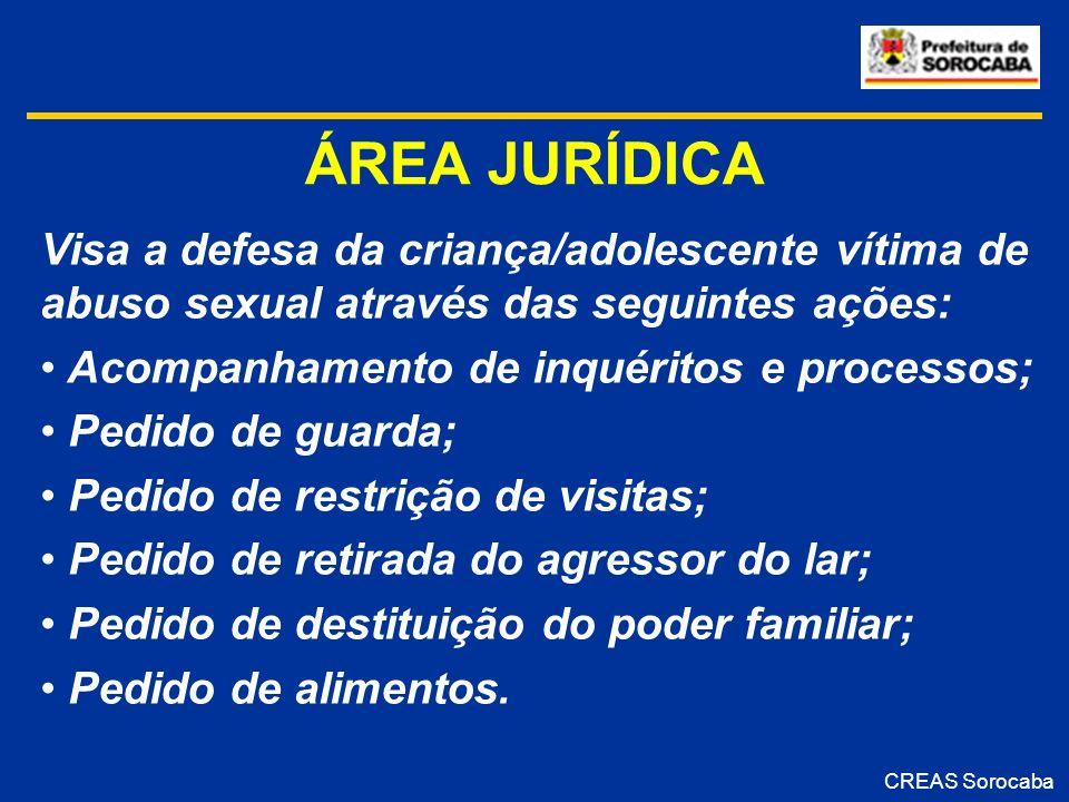 ÁREA JURÍDICA Visa a defesa da criança/adolescente vítima de abuso sexual através das seguintes ações: