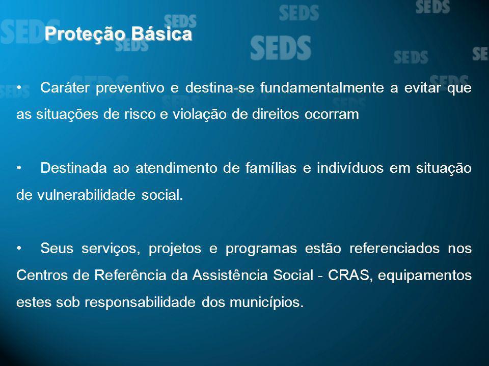 Proteção Básica Caráter preventivo e destina-se fundamentalmente a evitar que as situações de risco e violação de direitos ocorram.