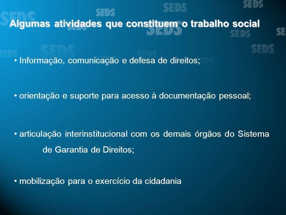 Algumas atividades que constituem o trabalho social