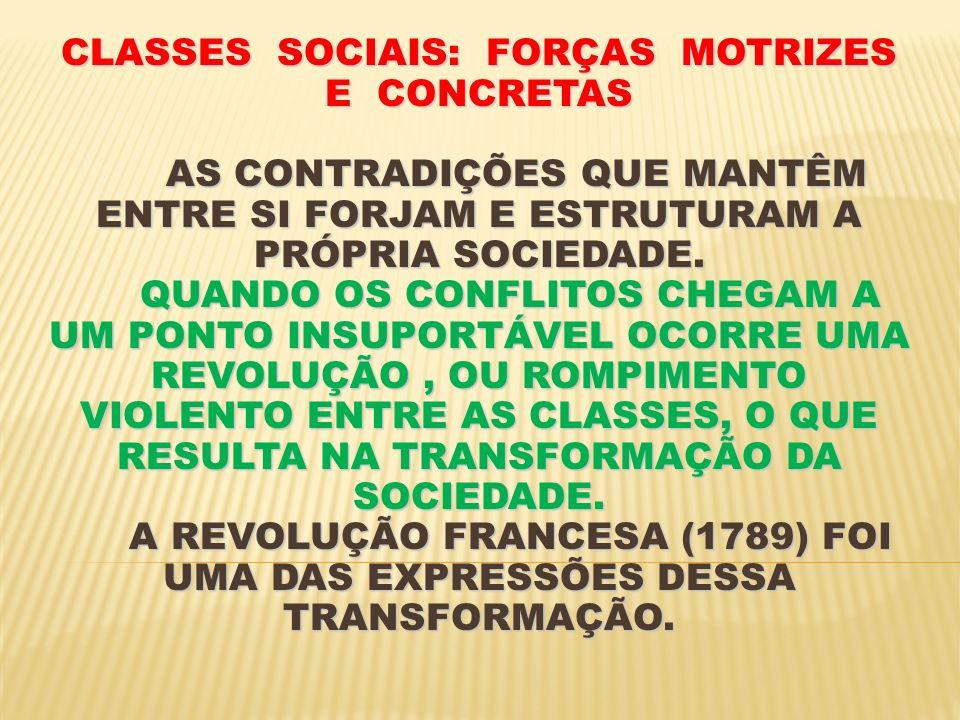 CLASSES SOCIAIS: FORÇAS MOTRIZES E CONCRETAS AS CONTRADIÇÕES QUE MANTÊM ENTRE SI FORJAM E ESTRUTURAM A PRÓPRIA SOCIEDADE.