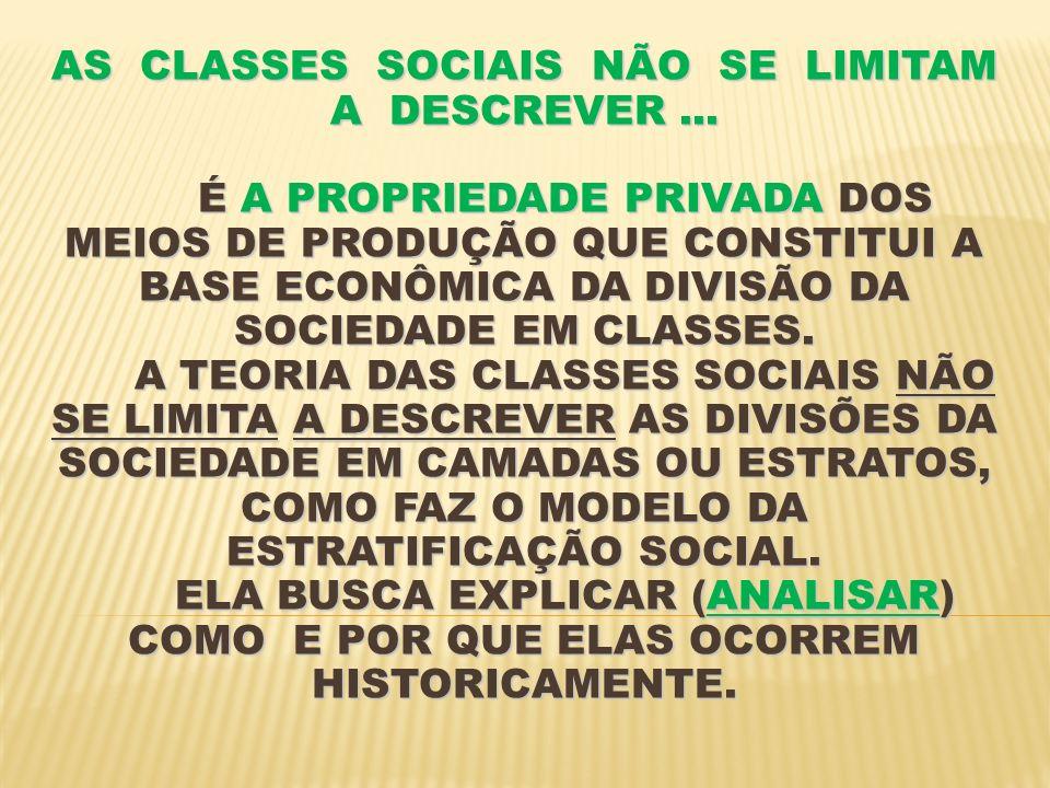 AS CLASSES SOCIAIS NÃO SE LIMITAM A DESCREVER