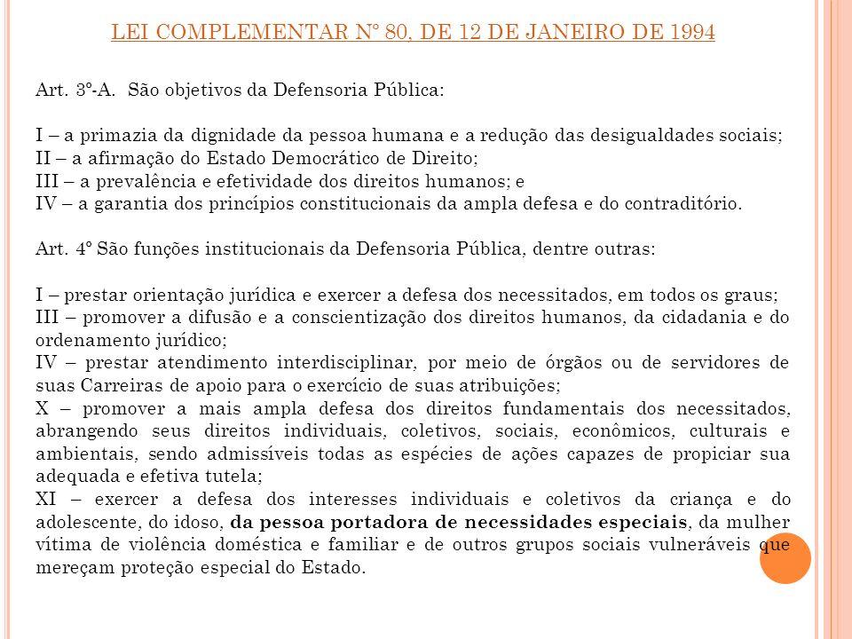 LEI COMPLEMENTAR Nº 80, DE 12 DE JANEIRO DE 1994