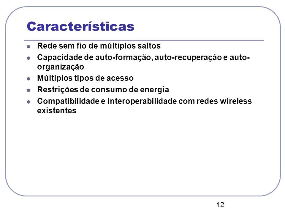 Características Rede sem fio de múltiplos saltos