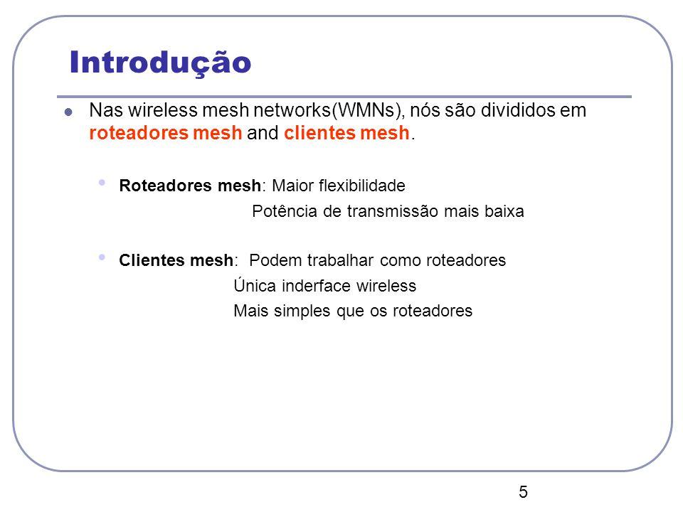04/12/12 Introdução. Nas wireless mesh networks(WMNs), nós são divididos em roteadores mesh and clientes mesh.