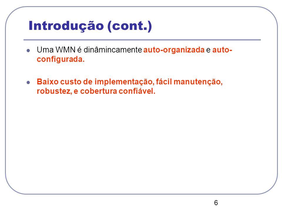 04/12/12 Introdução (cont.) Uma WMN é dinâmincamente auto-organizada e auto- configurada.