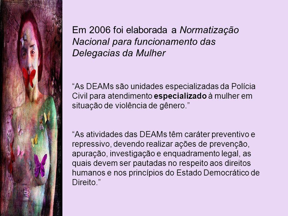 Em 2006 foi elaborada a Normatização Nacional para funcionamento das Delegacias da Mulher