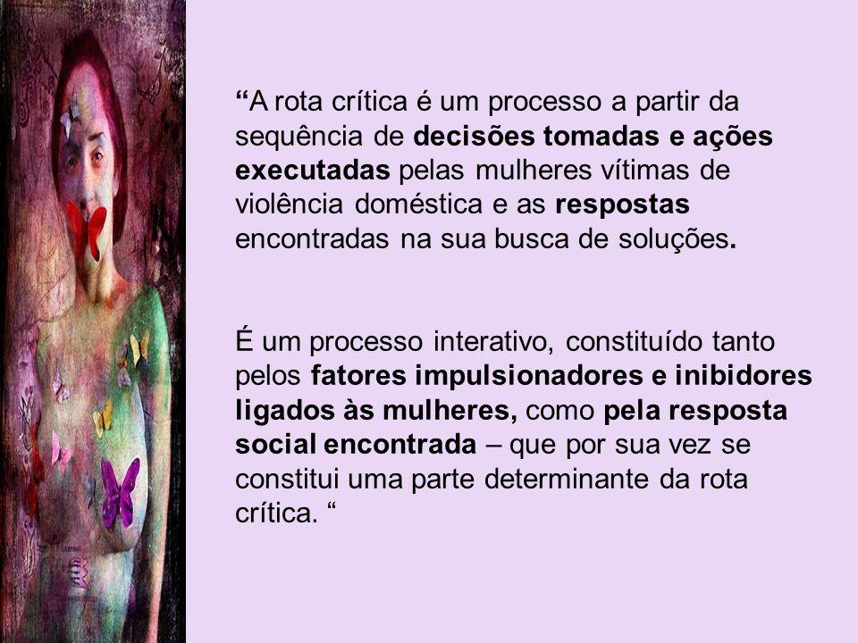 A rota crítica é um processo a partir da sequência de decisões tomadas e ações executadas pelas mulheres vítimas de violência doméstica e as respostas encontradas na sua busca de soluções.