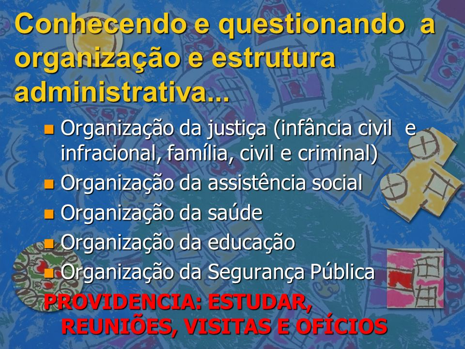 Conhecendo e questionando a organização e estrutura administrativa...
