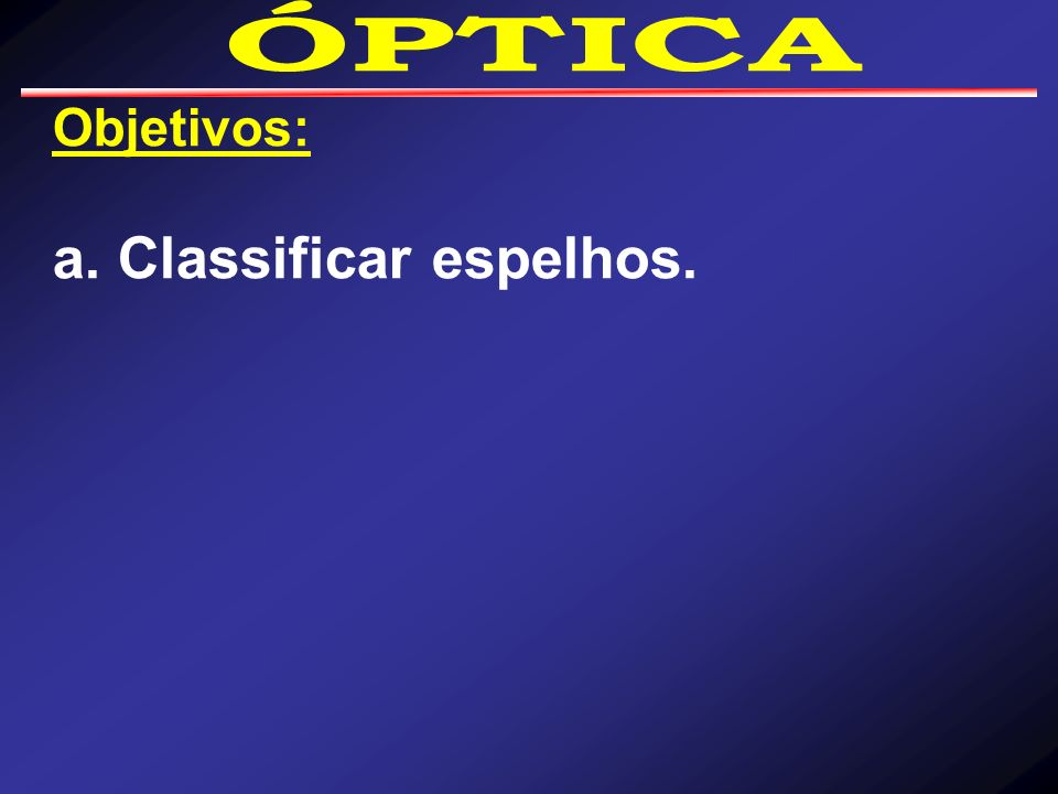 a. Classificar espelhos.