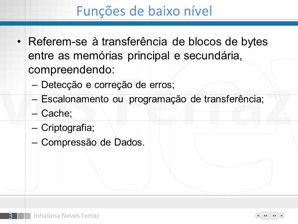 Funções de baixo nível Referem-se à transferência de blocos de bytes entre as memórias principal e secundária, compreendendo: