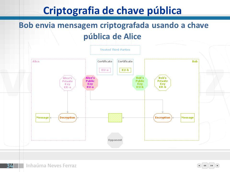 Criptografia de chave pública Bob envia mensagem criptografada usando a chave pública de Alice