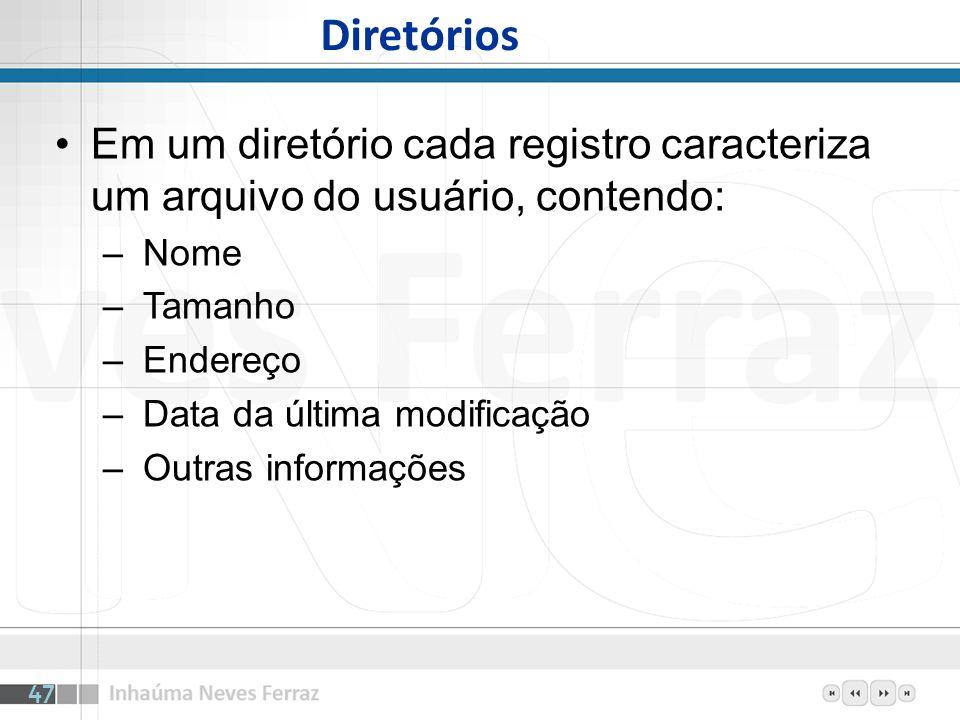 Diretórios Em um diretório cada registro caracteriza um arquivo do usuário, contendo: Nome. Tamanho.