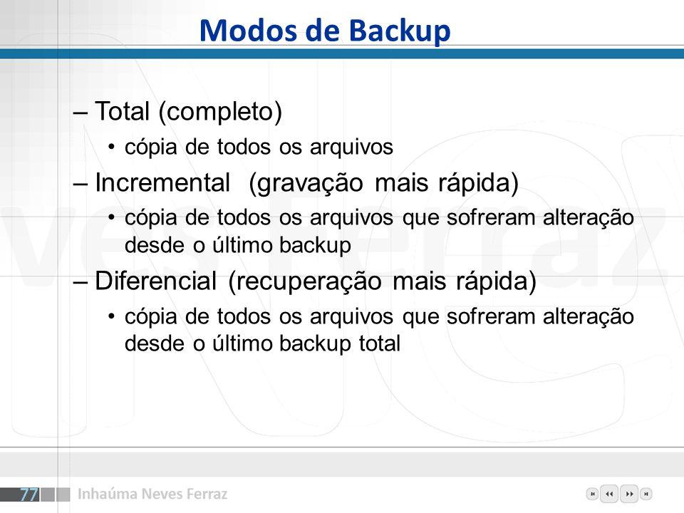 Modos de Backup Total (completo) Incremental (gravação mais rápida)