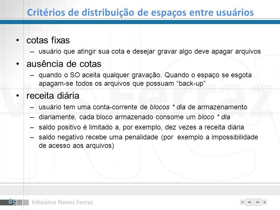 Critérios de distribuição de espaços entre usuários