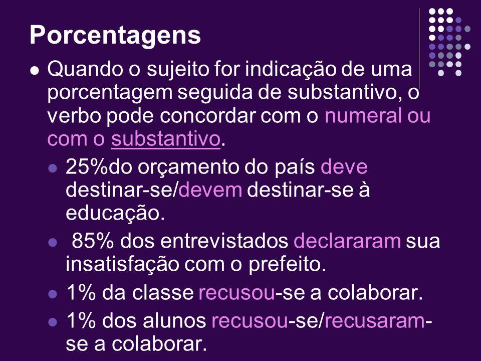 PorcentagensQuando o sujeito for indicação de uma porcentagem seguida de substantivo, o verbo pode concordar com o numeral ou com o substantivo.