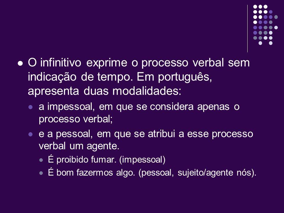 O infinitivo exprime o processo verbal sem indicação de tempo