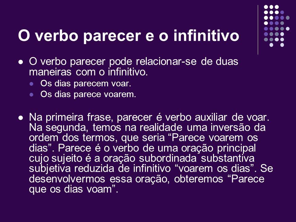 O verbo parecer e o infinitivo