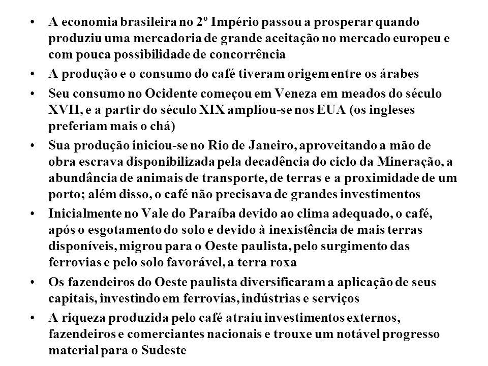 A economia brasileira no 2º Império passou a prosperar quando produziu uma mercadoria de grande aceitação no mercado europeu e com pouca possibilidade de concorrência