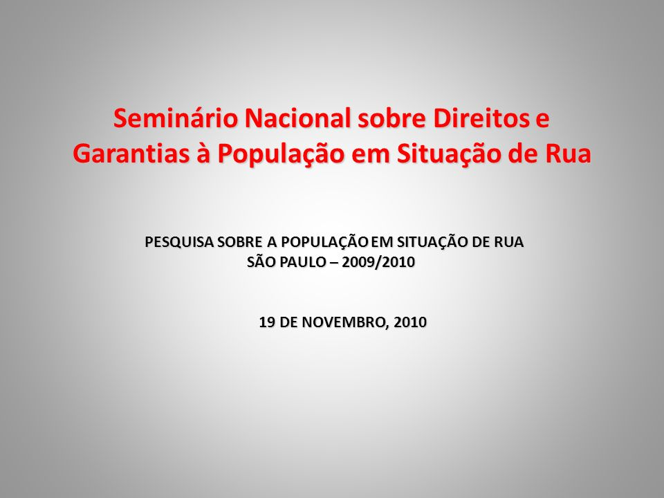 Seminário Nacional sobre Direitos e Garantias à População em Situação de Rua