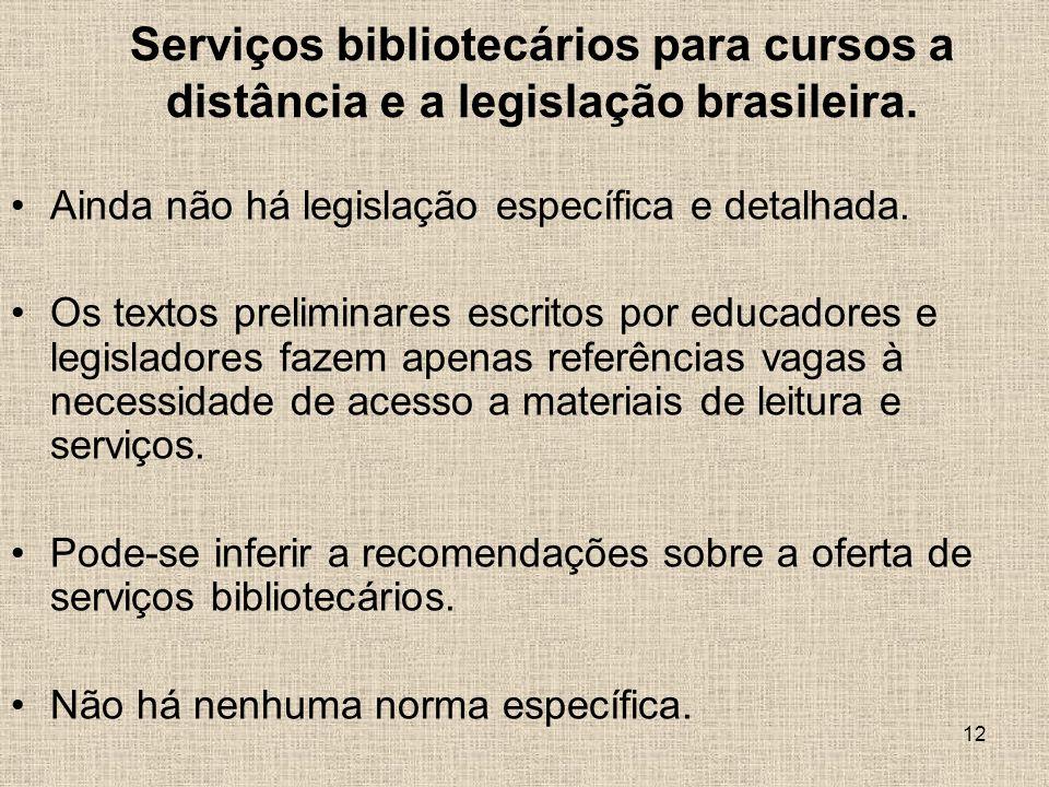 Serviços bibliotecários para cursos a distância e a legislação brasileira.