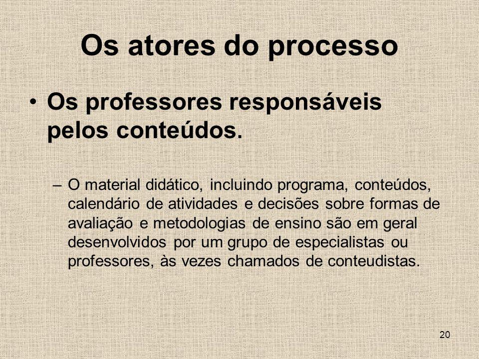 Os atores do processo Os professores responsáveis pelos conteúdos.