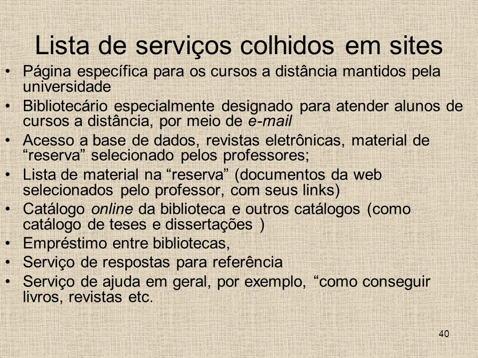 Lista de serviços colhidos em sites