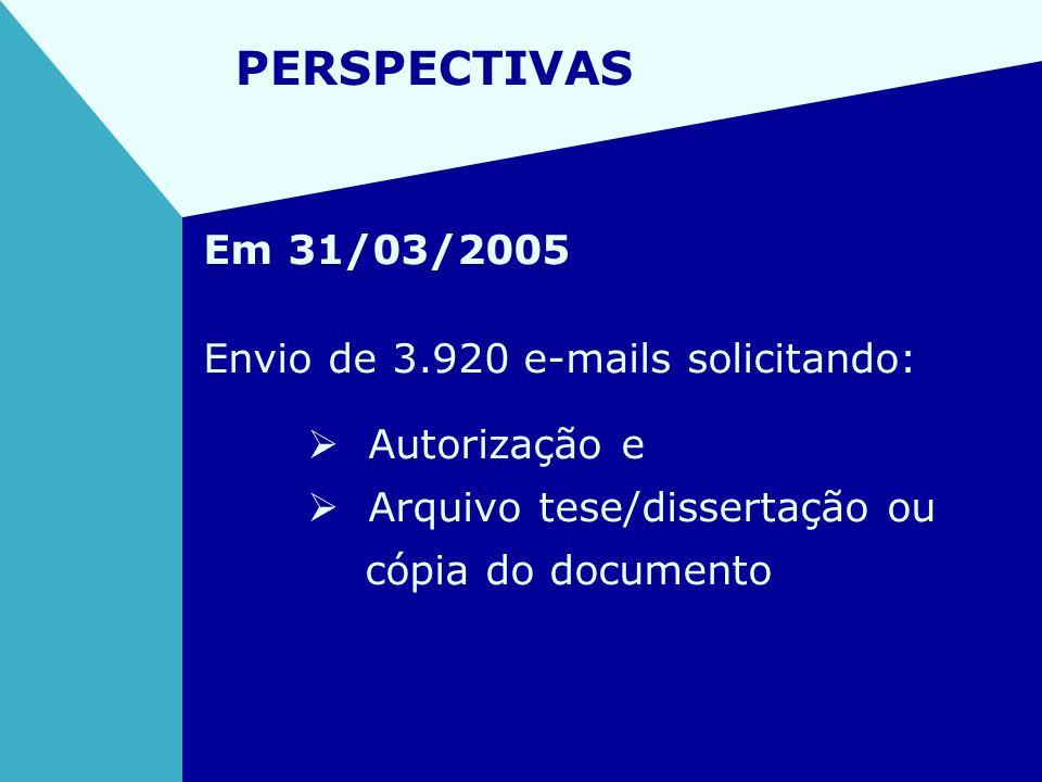 PERSPECTIVAS Em 31/03/2005 Envio de 3.920 e-mails solicitando:
