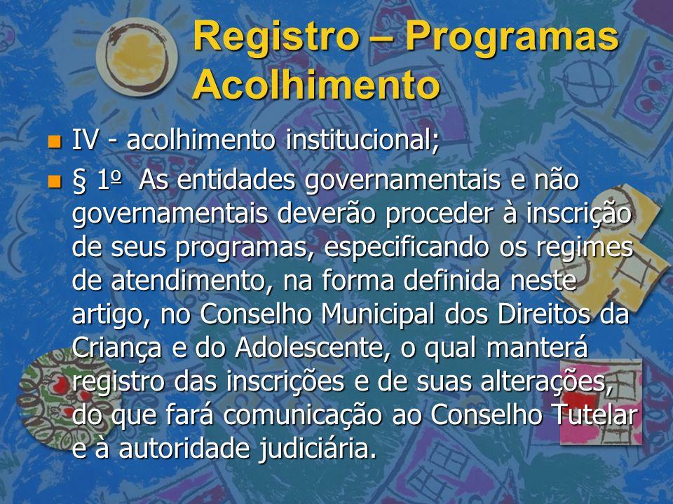 Registro – Programas Acolhimento