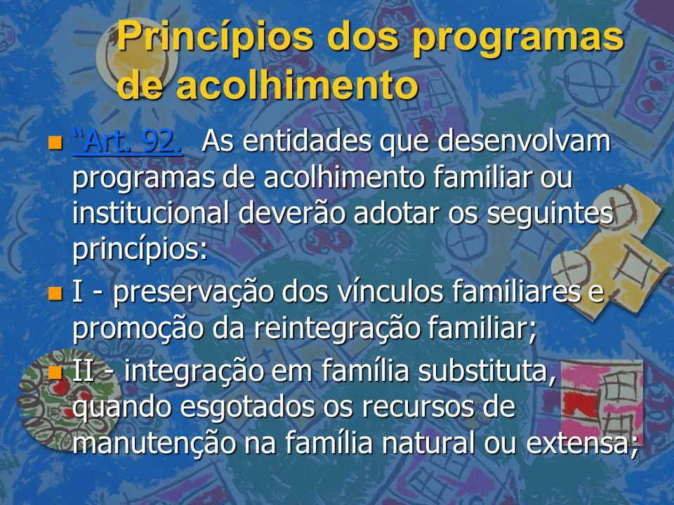 Princípios dos programas de acolhimento