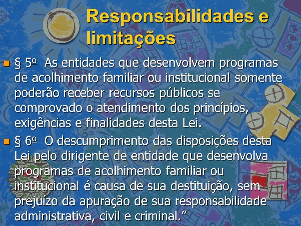 Responsabilidades e limitações