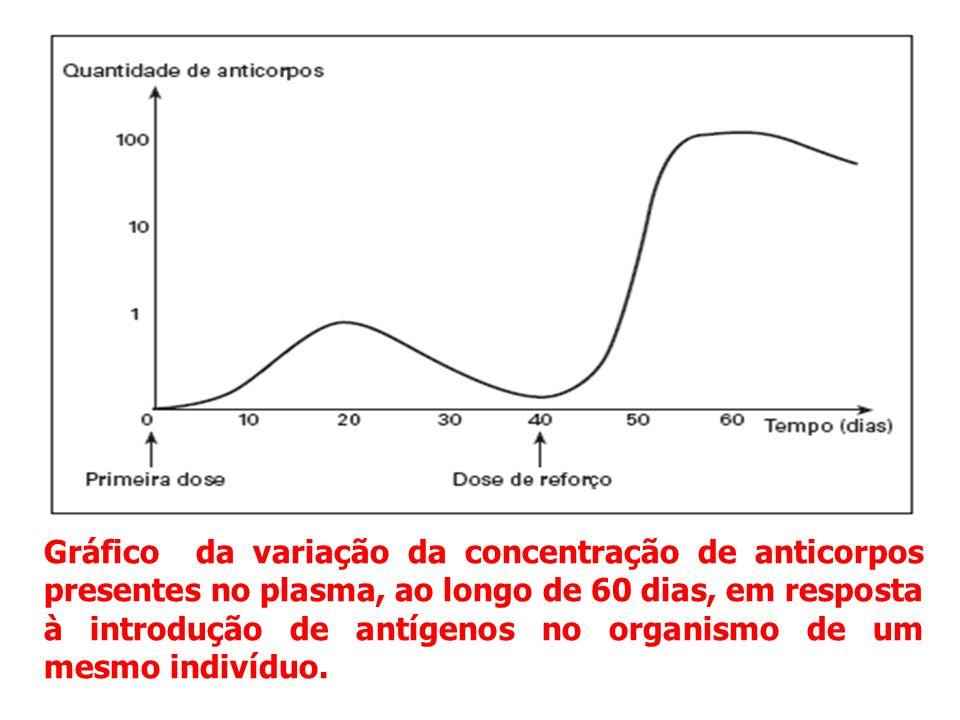 Gráfico da variação da concentração de anticorpos presentes no plasma, ao longo de 60 dias, em resposta à introdução de antígenos no organismo de um mesmo indivíduo.