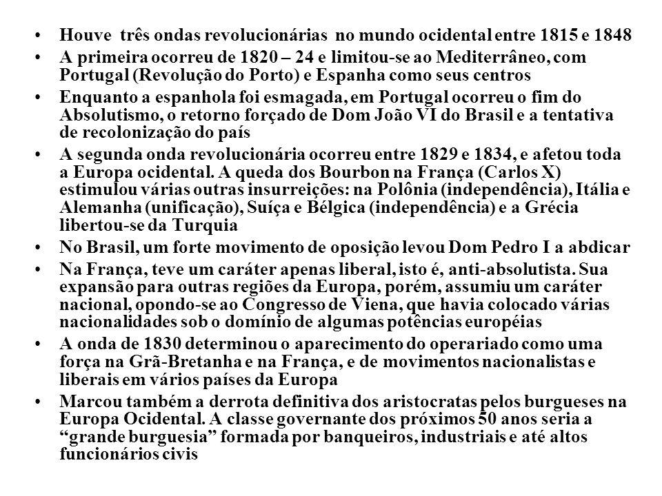 Houve três ondas revolucionárias no mundo ocidental entre 1815 e 1848