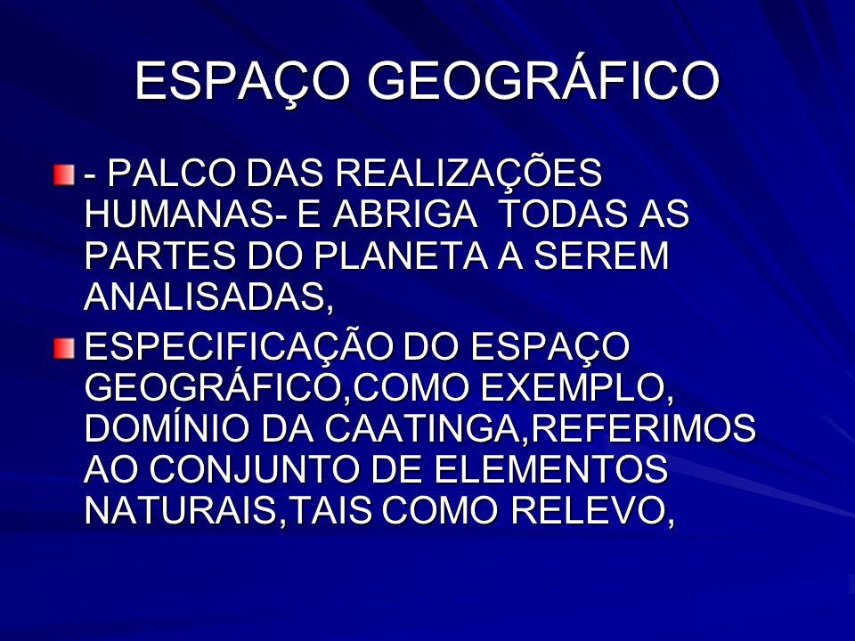 ESPAÇO GEOGRÁFICO - PALCO DAS REALIZAÇÕES HUMANAS- E ABRIGA TODAS AS PARTES DO PLANETA A SEREM ANALISADAS,