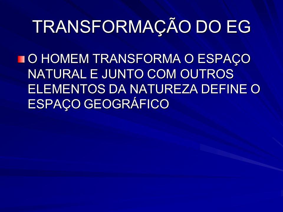 TRANSFORMAÇÃO DO EG O HOMEM TRANSFORMA O ESPAÇO NATURAL E JUNTO COM OUTROS ELEMENTOS DA NATUREZA DEFINE O ESPAÇO GEOGRÁFICO.