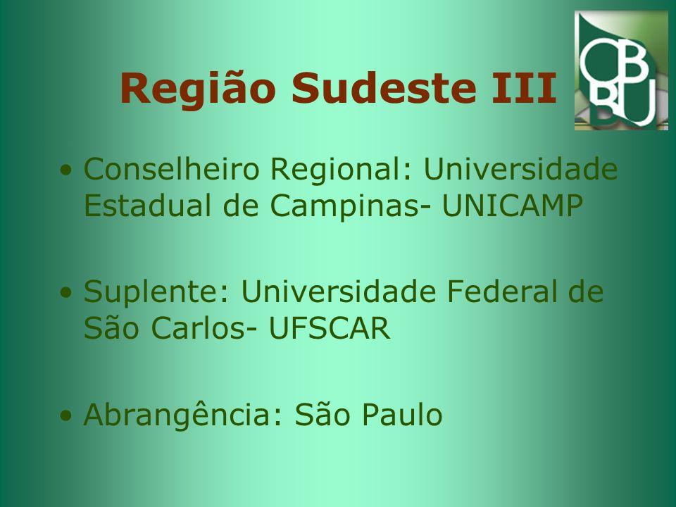 Região Sudeste III Conselheiro Regional: Universidade Estadual de Campinas- UNICAMP. Suplente: Universidade Federal de São Carlos- UFSCAR.