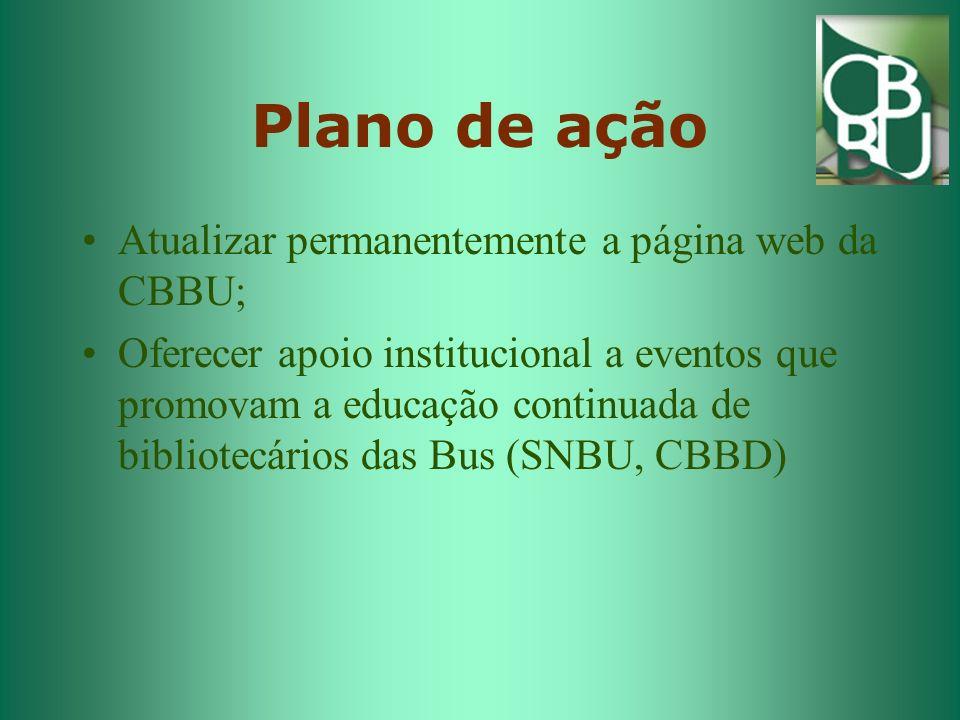 Plano de ação Atualizar permanentemente a página web da CBBU;
