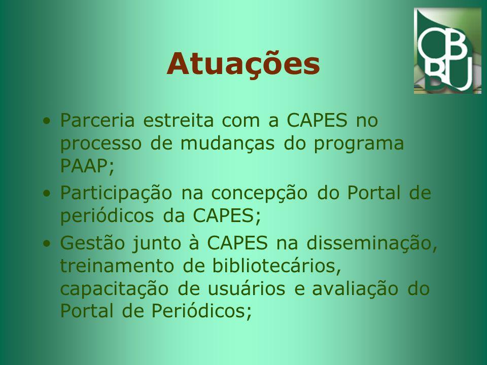 Atuações Parceria estreita com a CAPES no processo de mudanças do programa PAAP; Participação na concepção do Portal de periódicos da CAPES;