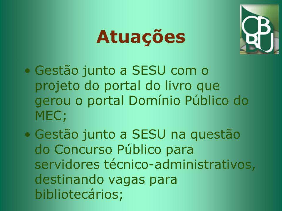 Atuações Gestão junto a SESU com o projeto do portal do livro que gerou o portal Domínio Público do MEC;