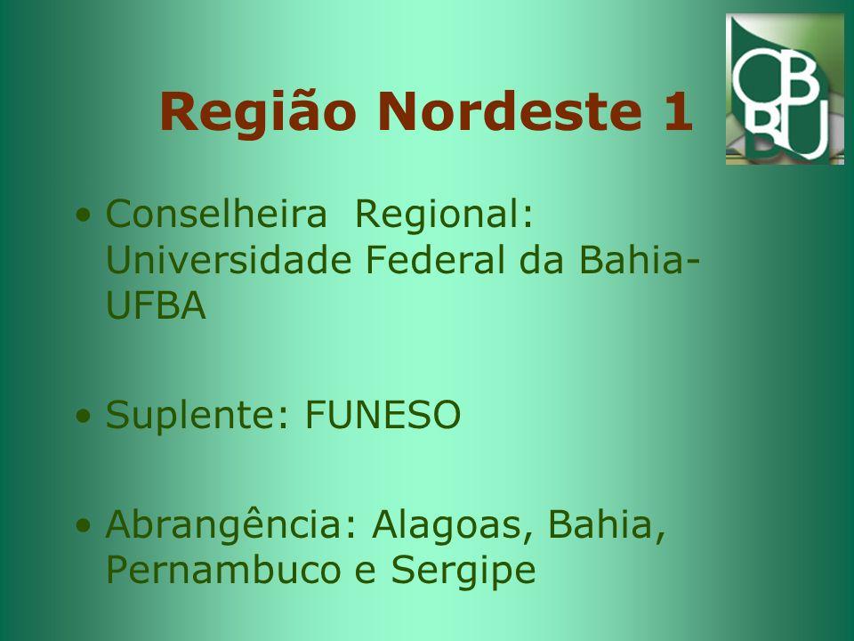 Região Nordeste 1 Conselheira Regional: Universidade Federal da Bahia-UFBA.