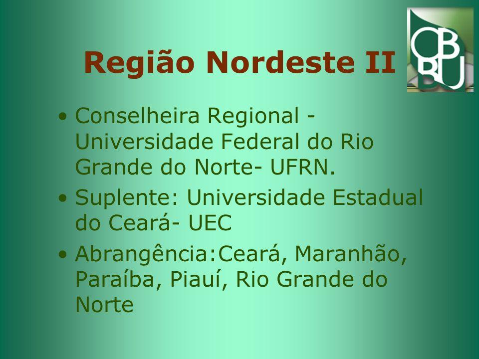 Região Nordeste II Conselheira Regional - Universidade Federal do Rio Grande do Norte- UFRN. Suplente: Universidade Estadual do Ceará- UEC.