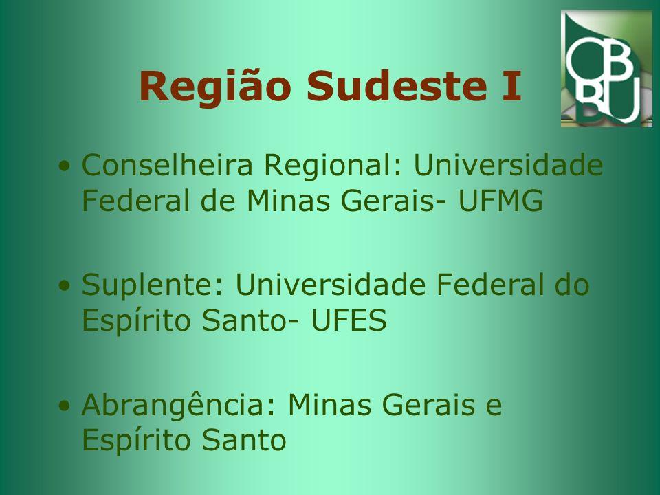 Região Sudeste I Conselheira Regional: Universidade Federal de Minas Gerais- UFMG. Suplente: Universidade Federal do Espírito Santo- UFES.