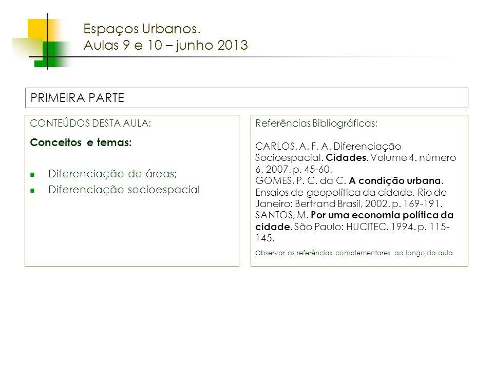 Espaços Urbanos. Aulas 9 e 10 – junho 2013 PRIMEIRA PARTE