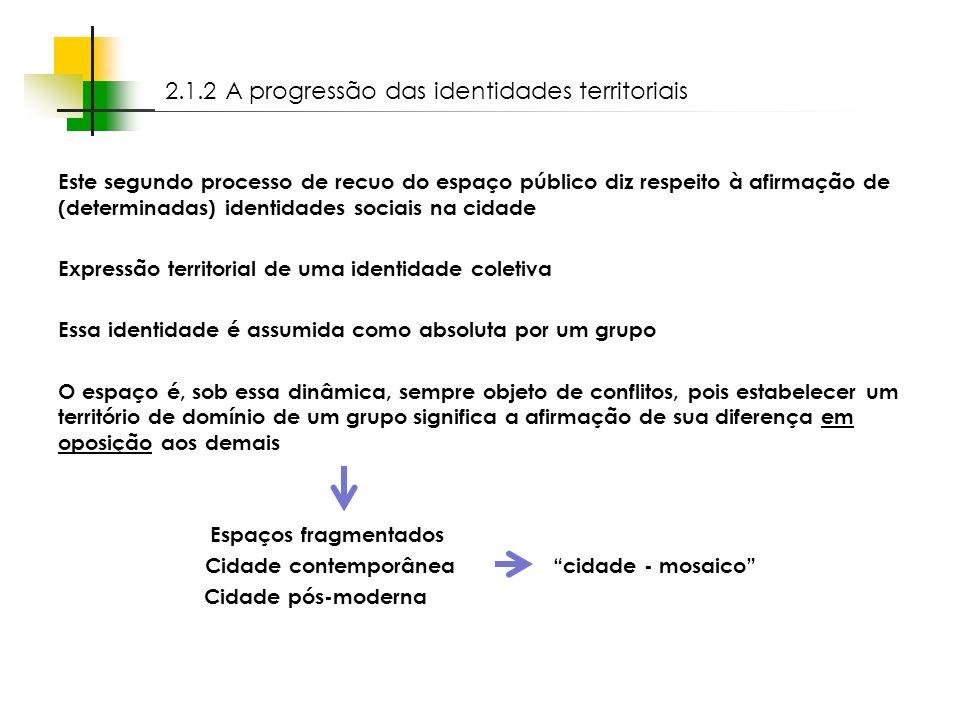 2.1.2 A progressão das identidades territoriais