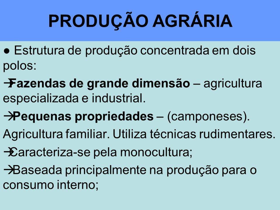 PRODUÇÃO AGRÁRIA Estrutura de produção concentrada em dois polos: