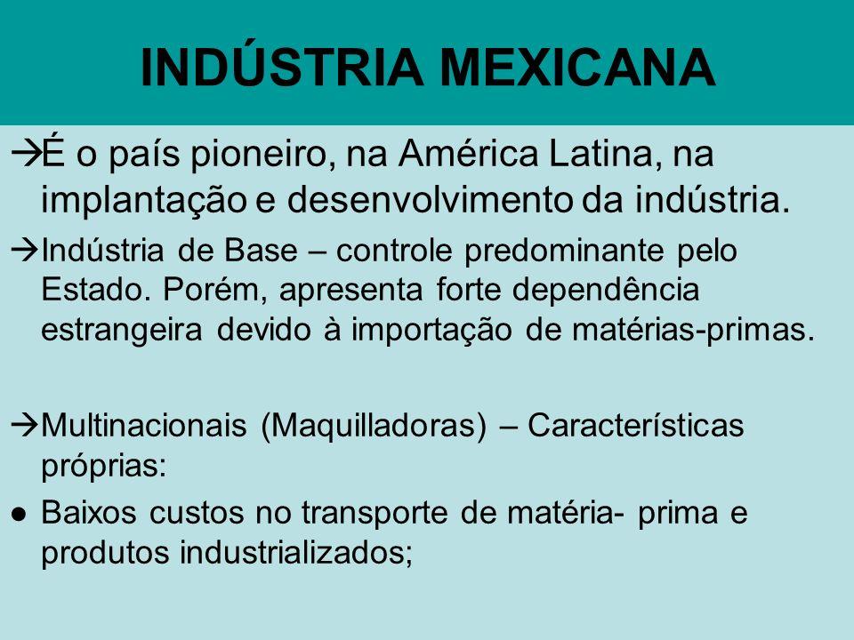 INDÚSTRIA MEXICANA É o país pioneiro, na América Latina, na implantação e desenvolvimento da indústria.
